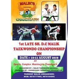 Logo of 1st Late. Sh. D. C. Malik Taekwondo Championship 2019